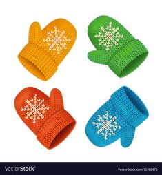 Winter Mittens Colorful Set vector image on VectorStock Sensory Art, Paper Clothes, Christmas Paintings, Color Shapes, Everyday Objects, Printable Paper, Clipart, Mittens, Snowflakes