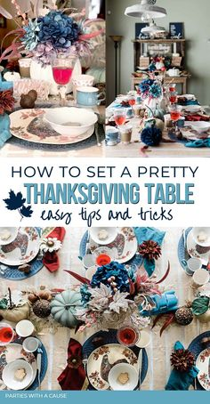 Try rustic Thanksgiving table decorations this year! In a non-traditional blue with pheasant feathers and white and blue pumpkins. A simple yet beautiful Thanksgiving table can stay on a budget when you shop your house and diy with Dollar Tree. Get all the details at PartiesWithACause.com #thanksgivingtable #falltablescape #tabledecor Diy Thanksgiving Crafts, Rustic Thanksgiving, Thanksgiving Table Settings, Thanksgiving Traditions, Thanksgiving Parties, Thanksgiving Decorations, Table Decorations, Maple Leaf Cookies, Farm Style Table