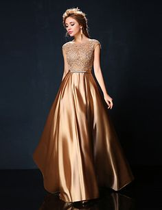 Formal Evening Dress - Ruby / Burgundy / Gold Petite A-line Jewel Floor-length Lace / Charmeuse   2016 –  $149.99
