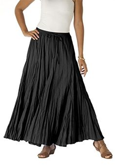 Jessica London Womens Plus Size Cotton Crinkled Maxi Skirt Black18 -- You can find more details by visiting the image link.