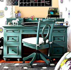 blue wooden desk
