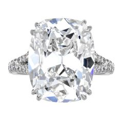 Cushion Cut  8.50 carats Diamond Solitaire Engagement Ring | From a unique collection of vintage solitaire rings at http://www.1stdibs.com/jewelry/rings/solitaire-rings/