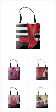 Fashion Tote Bags! - fashion, high heels, lip stick, makeup, cosmetics, shoes, pumps, feminine, girly, chandeliers, handbags, tote bags,
