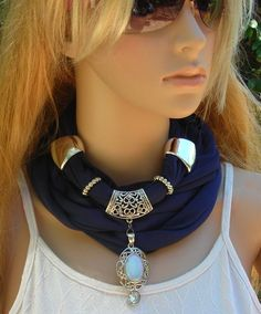 Scarf with Jewelry   Jewelry Scarf   necklace by MyArtAndFashion, $23.99