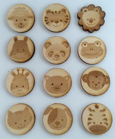 Wooden animal faces magnets by PurelyLaser on Etsy