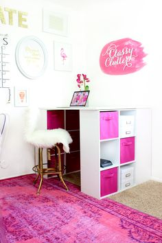 Home Office Makeover Pretty in Pink! Bright Office, Pink Office, Gold Office, Home Office Organization, Office Decor, Organizing Ideas, Office Ideas, Organization Hacks, Clutter Free Home