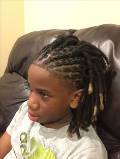 Styled Dreadlocks kids dot like to sit still long so these are perfect ♀️ Chanel Monroe Short Dread Styles, Short Dreadlocks Styles, Mens Dreadlock Styles, Dreadlocks Men, Curly Hair Styles, Natural Hair Styles, Loc Styles For Men, Locs Styles, Cute Boy Hairstyles