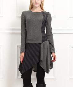 Another great find on #zulily! Charcoal & Gray Stripe Handkerchief Tunic #zulilyfinds