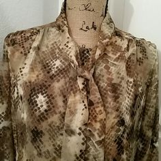 Jennifer Lopez animal print sheer top Brown and tan pull over blouse. Sheer material. NWT Jennifer Lopez Tops Blouses