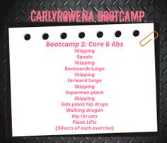 Here is your CarlyRowena Bootcamp week 2 workout plan, aim to do this 2 - 4 times over the next week and get ready for Bootcamp week 3 next saturday! http://www.youtube.com/watch?v=Ze6wGhM9GLs