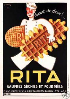 Rita waffles dessert wafers French art poster print - eBay $20 18x24