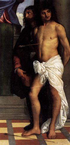 Titian (TIZIANO Vecellio) - Mark Enthroned with Saints (detail) c. 1510 Oil on canvas Santa Maria della Salute, Venice