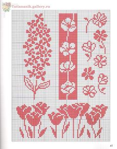 Cross Stitch Borders, Modern Cross Stitch, Cross Stitch Flowers, Cross Stitch Designs, Cross Stitch Patterns, Knitting Charts, Knitting Stitches, Knitting Patterns, Crochet Patterns