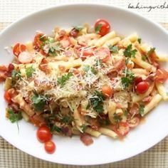 Bacon, Leek, Tomato. Perfect for a deliciously light pasta dish.