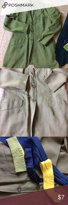 """Woman's Equestrian jacket Gorgeous rising jacket comes with all the ties, lined in sage green satin   3 button front , deco buttons on sleeves, colors are brown, tan, green and blue.bust measures 20"""" across and length from shoulder is 30"""", excellent condition. Equestrian Jackets & Coats"""