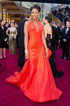 Jennifer Hudson looked simply stunning in tangerine Versace at the Oscars in 2011