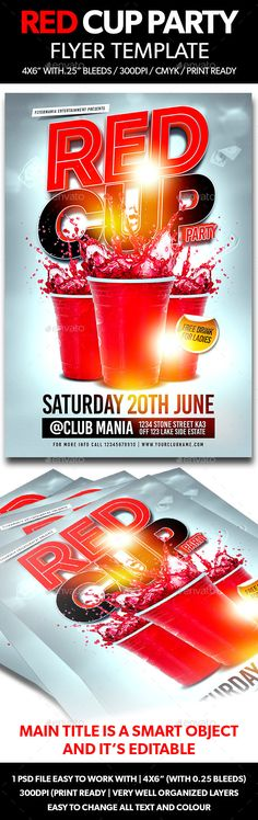 Red Cup Party  Summer Night Psd Flyer Template  Red Cup Party