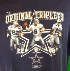 Dallas Cowboys The Original Triplets T-Shirt Vintage 1990's M Blue Troy Aikman  #Reebok #GraphicTee