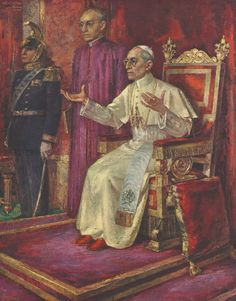 """""""Finally, let them not think, indulging in a false 'irenism,' that the dissident and erring can happily be brought back to the bosom of the Church, if the whole truth found in the Church is not sincerely taught to all without corruption or diminution."""" ~ Pope Pius XII, Humani Generis. Image: Portrait of Pius XII, Wim van de Plas, 1949."""