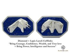 """Diamond + Lapis Lazuli Sterling Silver Cufflinks, Rhodium plated, Bull & Bear Model """"Bring Courage, Confidence, Wealth, and True love + Bring Power, Intelligence and Success"""" *** Combine 2 Gemstone Powers to double your LUCK ***"""