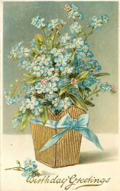 BIRTHDAY GREETINGS blue forget-me-nots in gilt holder, blue ribbon