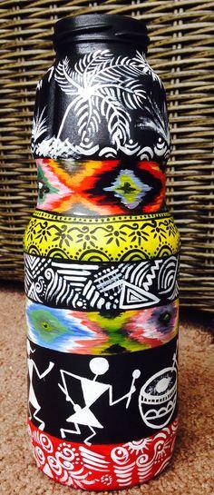 Hand Painted Warli Bottle Indian Art Handicraft Hand by Tvanta
