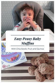 The Easiest healthy snack for your minis! Delicious baby muffins with fruit puree, quinoa and chia seeds! So easy to make and your baby will LOVE them. #easyrecipes #healthyeating #organicsnacks #organicbaby #homemadesnacks #healthybaby #babymuffins