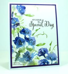 "By Karen Dunbrook. Stamp is ""Trumpet Song"" by Penny Black. Ink stamp with markers, spritz, and stamp on watercolor paper. Clean stamp. Ink only flower centers with gray and stamp over wet image. Dry. Add sentiment, mat, card base. [Note to me: Use MISTI.]"