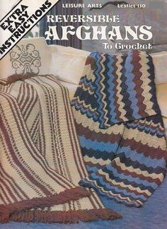 Reversible Afghan Crochet Patterns  4 Designs by PaperButtercup