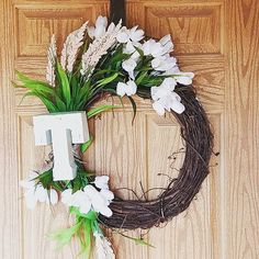 Check out this item in my Etsy shop https://www.etsy.com/listing/493219236/personalized-door-wreath