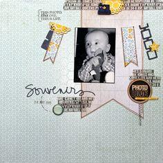 """http://ketchupscrap.blogspot.be/2013/03/souvenirs.html    Matériel disponible chez Scrapfuté (www.scrapfute.com) :  Posch losanges (Kesi'art)  Pschhiitt bleu de paris et blanc (Kesi'art)  Tampon molette dateur (Kesi'art)  Tampons Ali Edwards (Technique Tuesday)  Dies """"retro square"""" et """"mini doily circle"""" (Die'namics)  Die """"Souvenirs"""" (Kesi'art)  Embellissement """"camera (Studio Calico)"""