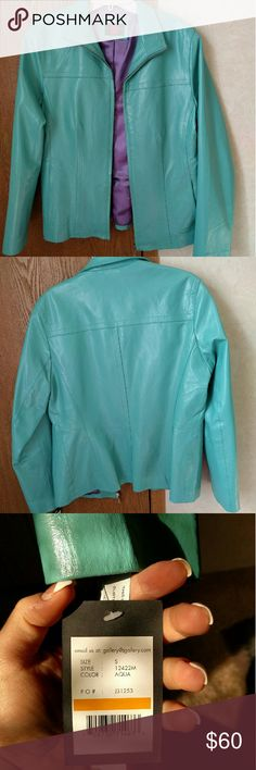 *New* leather zip jacket. Genuine leather.  Unique color. Open to reasonable offer ?? Gallery Jackets & Coats