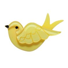 Limited edition, original Erstwilder Anouk's Lost Letter brooch in yellow. Designed by Louisa Camille Melbourne. Bird Jewelry, Animal Jewelry, Polymer Clay Jewelry, Bird Art, Vintage Brooches, Blue Bird, Color Trends, Vintage Designs, Brooch Pin