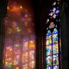 beautiful light beams through a church window..