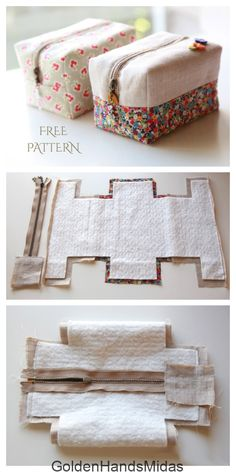 Bag Patterns To Sew, Sewing Patterns Free, Free Sewing, Fabric Patterns, Pouch Pattern, Pattern Fabric, Sewing Hacks, Sewing Tutorials, Sewing Projects