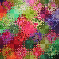 Shimmering triangles:  Watercolor effect quilt by Jenny Bowker, Kaffe Fassett fabrics