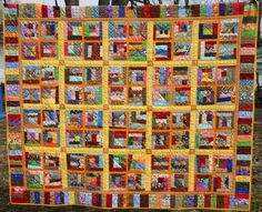 "Name:  Crumb quilt after washing . The blocks are 6.5"" and made without foundation. The sashing colors really look great with those blocks. Pieced and quilted by Rose S.."