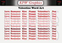Valentine Words of Love Word Art Set in PNG format. Personal & Small Commercial use