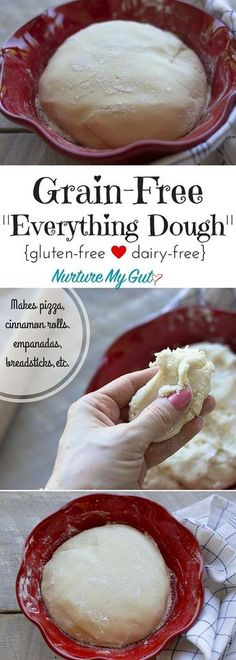 This Grain-Free Everything Dough is perfect for making pizza cinnamon rolls empanadas pita bread breadsticks and more! Made with blanched almond flour tapioca flour and potato starch. - April 20 2019 at Gf Recipes, Dairy Free Recipes, Cooking Recipes, Wheat Free Bread Recipes, Recipies, Wheat Free Baking, Dairy Free Baking, Dairy Free Keto Meals, Easy Recipes