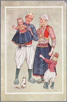 Marken Tekening door J. Duyvetter van een Marker familiegroep in daagse zomerdracht. Jongetje in kostuum, zoals het gedragen wordt tussen 5 en 7 jaar.