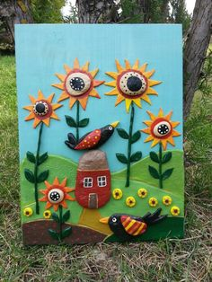 ➡ -Mixed Media Art- Sunflowers and Bird ➡ Original Mixed Media Painting- Folk Art, ➡ Rustic wall Art, Bird wall Decor, Sunflower Art, PEBBLE art   Inspirational Art !! ➡ To make it we used Stones, pebbles, white clay, higth quality gloss, wood, akrilic Paints.  It is glued to a green wooden base .On the back of the mask there is a small hook, which you can use to hang it on the desired place.  The art piece is tagged by StefArt Stone S.A.S  Materials: Stones, pebbles, White clay, woo...