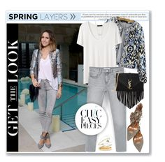 """""""Spring Jacket"""" by akchesunel ❤ liked on Polyvore featuring The Row, Aquazzura, MANGO, Yves Saint Laurent, Kendra Scott, Marni, Wouters & Hendrix Gold, GetTheLook, StreetStyle and denim"""