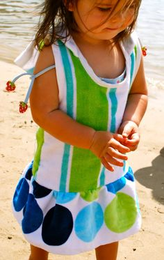 Beach Towel Dresses DIY:  I'd do this with out the bottom ruffle for Little Man...maybe add snaps?!