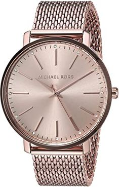 Women's Stainless Steel Quartz Watch with Leather Calfskin Strap, Rose Gold Breitling Watches Women, Big Face Watches, Last Minute Gifts, Beautiful Watches, Quartz Watch, Gold Watch, Stainless Steel, Michael Kors, Rose Gold