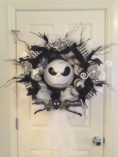 XL Nightmare Before Christmas Wreath/Jack Skellington/Halloween/Decoration/Party/Black and White/Front Door Hanger/Xmas/24 inches by TheHenandChickCrafts on Etsy