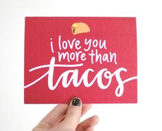 Cinco de Mayo Card, Hipster Love, Taco Illustration, Hand-Lettered, Calligraphy, I Love You More Than Tacos, Red, Single