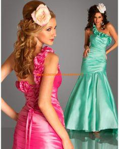Verte robe asymétrique fuchsia sirène satin robe de soirée 2013