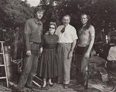 Fess Parker, Lillian Disney, Walt Disney, and Pat Hogan on location in Tennessee for a Davy Crockett shoot. I Love Walt's mini Smoke Tree Ranch tie.