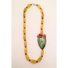 Collana gialla con fico d'India in ceramica di Caltagirone, Agata, cristalli rossi e chiusura in argento 925 realizzata a mano