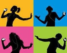 Famous dancing silhouettes in apple ipod advert.